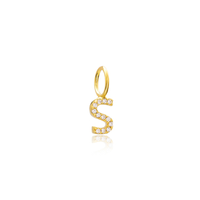 S Letter Charm Pendant Wholesale Handmade Turkish 925 Silver Sterling Jewelry With Hole Ø7 mm