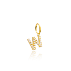 W Letter Charm Pendant Wholesale Handmade Turkish 925 Silver Sterling Jewelry With Hole Ø7 mm