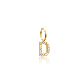 D Letter Charm Pendant Wholesale Handmade Turkish 925 Silver Sterling Jewelry With Hole Ø7 mm