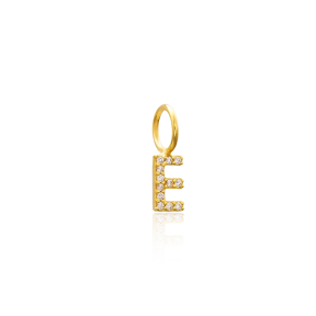 E Letter Charm Pendant Wholesale Handmade Turkish 925 Silver Sterling Jewelry With Hole Ø7 mm
