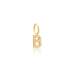 B Letter Charm Pendant Wholesale Handmade Turkish 925 Silver Sterling Jewelry With Hole Ø7 mm