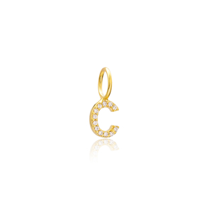 C Letter Charm Pendant Wholesale Handmade Turkish 925 Silver Sterling Jewelry With Hole Ø7 mm