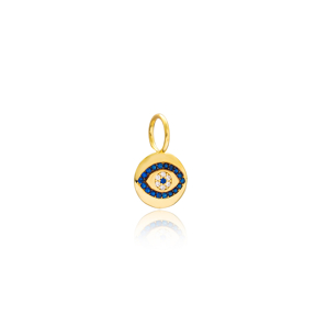 Evil Eye Charm Wholesale Handmade Turkish 925 Silver Sterling Jewelry With Hole Ø7 mm