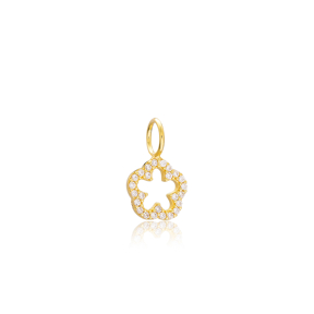 Basic Flower Charm Wholesale Handmade Turkish 925 Silver Sterling Jewelry With Hole Ø7 mm