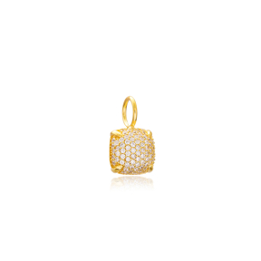 Square Charm Wholesale Handmade Turkish 925 Silver Sterling Jewelry With Hole Ø7 mm
