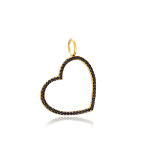 Heart Charm Wholesale Handmade Turkish 925 Silver Sterling Jewelry With Hole Ø7 mm