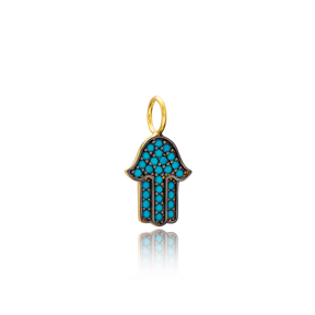 Hamsa Charm Wholesale Handmade Turkish 925 Silver Sterling Jewelry With Hole Ø7 mm