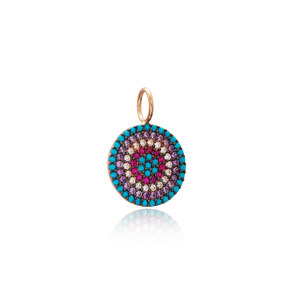 Rainbow Round Shape Charm Wholesale Handmade Turkish 925 Silver Sterling Jewelry With Hole Ø7 mm