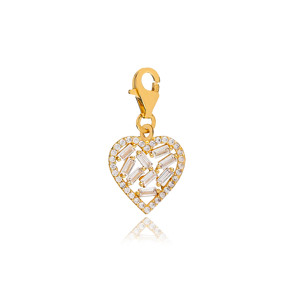 Heart With Baguette Stone Charm Wholesale Handmade Turkish 925 Silver Sterling Jewelry