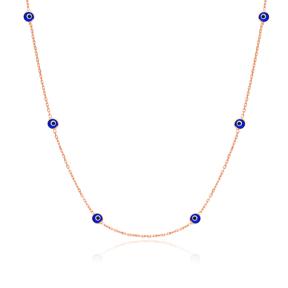 Handmade 925 Sterling Silver Turkish Mini Evil Eye Beaded Choker Necklace Jewelry