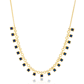 Sapphire Stone Square Shape Charms Turkish Wholesale Handmade 925 Sterling Silver Choker Necklace