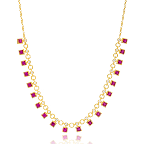 Ruby Stone Square Shape Charms Turkish Wholesale Handmade 925 Sterling Silver Choker Necklace