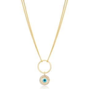 Evil Eye Design Hollow Choker Necklace Handmade 925 Sterling Silver Turkish Wholesale Jewelry