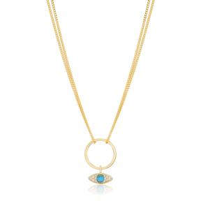 Eye Shape Hollow Choker Necklace Handmade 925 Sterling Silver Turkish Wholesale Jewelry