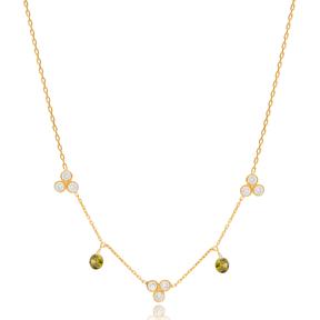 Elegant Design Peridot Stone Turkish Wholesale Handcrafted 925 Silver Necklace