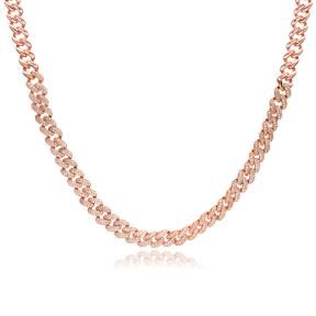 Dainty Design Zircon Stone Choker Necklace Turkish Handmade 925 Sterling Silver Jewelry
