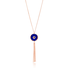 Enamel Evil Eye Tassel Pendant Wholesale 925 Sterling Silver Jewelry