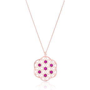 Ruby Stone Round Pattern Design Necklace Turkish Wholesale 925 Sterling Silver Jewelry