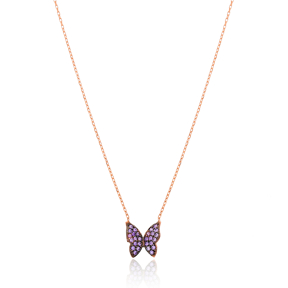 Butterfly Design Turkish Handmade Jewelry 925 Sterling Silver Pendant