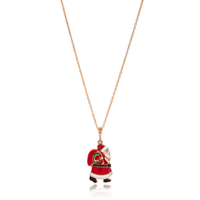Christmas Enamel Santa Claus Pendant Wholesale 925 Sterling Silver Jewelry