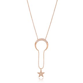 Moon and Star Design Dainty Pendant Wholesale Turkish 925 Silver Sterling Necklace