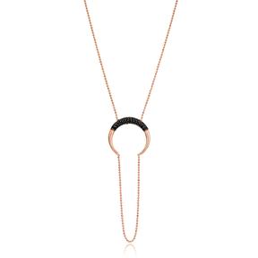 Black Zircon Moon Design Pendant Wholesale Turkish 925 Silver Sterling Necklace