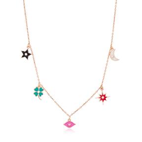 Enamel Minimalist Shaker Star Clover Moon Pendant Turkish Wholesale 925 Sterling Silver Jewelry