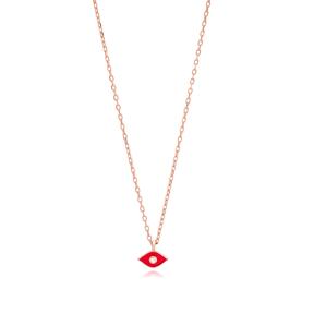 Enamel Red Minimalist Design Turkish Wholesale 925 Sterling Silver Necklace Pendant