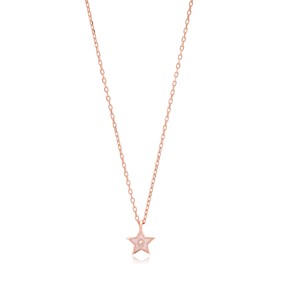 Enamel Minimalist Star Design Pendant Turkish Wholesale 925 Sterling Silver Necklace Jewelry