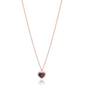Mother of Pearl Black Enamel Heart Design Necklace Wholesale Turkish Sterling Silver Pendant