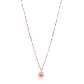 Minimal Square Evil Eye Necklace Turkish Wholesale Sterling Silver Jewelry