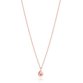 Drop Design Evil Eye Minimal Necklace Turkish Wholesale Sterling Silver Jewelry