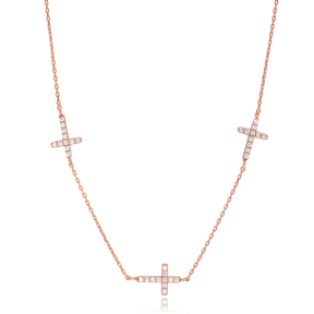 Elegant Cross Design Necklace 925 Sterling Silver Turkish Wholesale Jewelry