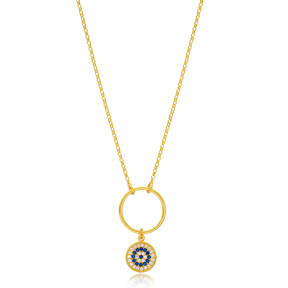Round Shape Evil Eye Design Hollow Pendant Turkish Wholesale 925 Sterling Silver Jewelry