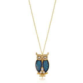 New Turquoise Stone Owl Charm Turkish Wholesale 925 Sterling Silver Jewelry
