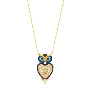Fashionable Turquoise Stone Owl Charm Turkish Wholesale 925 Sterling Silver Jewelry