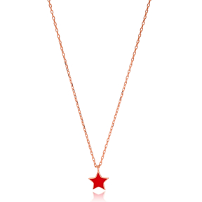 Unique Red Enamel Star Design Necklace Turkish Wholesale 925 Sterling Silver Jewelry