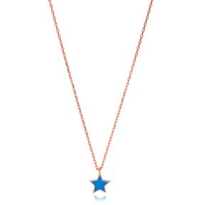 Elegant Blue Enamel Star Design Necklace Turkish Wholesale 925 Sterling Silver Jewelry