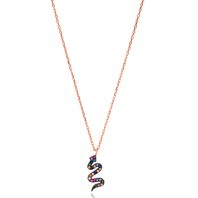 Colorful Stone Snake Design Necklace Turkish Wholesale 925 Sterling Silver Jewelry