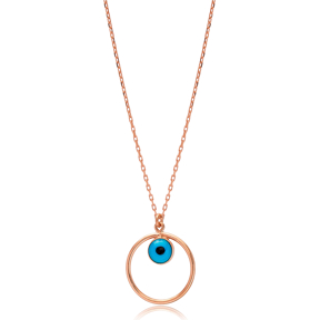 Hollow Minimalist Evil Eye Charm Wholesale Turkish 925 Sterling Silver Necklace