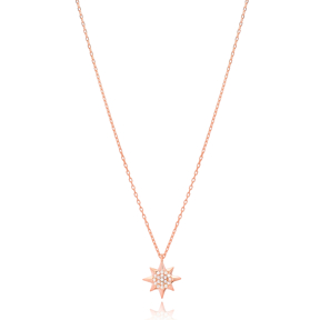 Fashionable Minimal Pole Star Charm Necklace Wholesale Turkish 925 Sterling Silver Jewelry