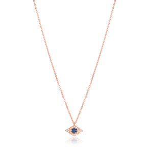 Sapphire and Zircon Stone Evil Eye Charm Necklace Wholesale Turkish 925 Sterling Silver Jewelry