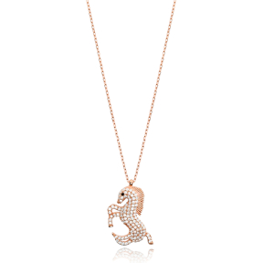 Horse Design Zircon Stone Charm Necklace Turkish Handmade Wholesale 925 Sterling Silver Jewelry