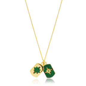 Dainty Design Emerald Stone Two Charm Necklace Turkish Handmade 925 Sterling Silver Jewelry