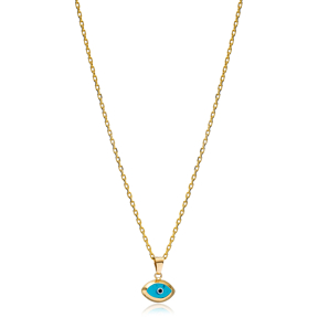 Evil Eye Shape Charm Necklace Wholesale Turkish 925 Sterling Silver Jewelry