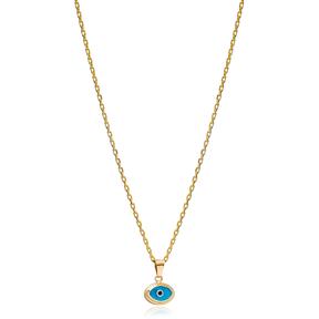 Evil Eye Oval Shape Charm Necklace Wholesale Turkish 925 Sterling Silver Jewelry