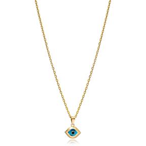 Minimalist Evil Shape Evil Eye Charm Necklace Wholesale Turkish 925 Sterling Silver Jewelry