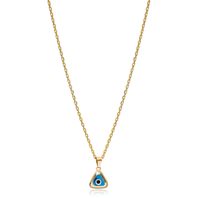 Triangle Shape Evil Eye Charm Necklace Wholesale Turkish 925 Sterling Silver Jewelry