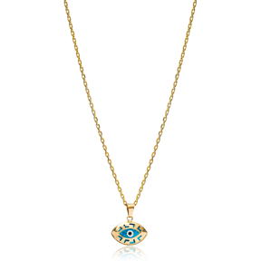 Dainty Evil Eye Shape Charm Necklace Wholesale Turkish 925 Sterling Silver Jewelry