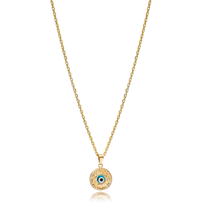 Trendy Round Shape Evil Eye Charm Necklace Wholesale Turkish 925 Sterling Silver Jewelry